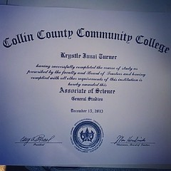 I got some exciting mail at the post office today. My Associates of Science from Collin College. I am so happy to say that I final got my two year degree in Science after all I been through. God is so gracious and good. #02282014Friday #ThanksbetoGOD #YHW