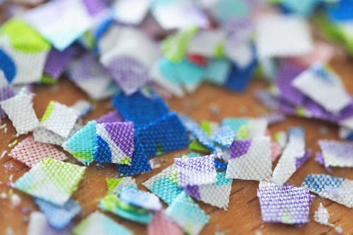 Beautiful tiny fabric scraps.