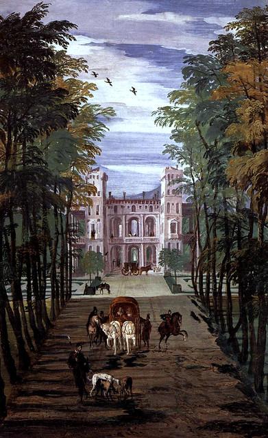 Paolo Veronese, Villa Barbaro, Maser, Landschaft mit Villa und Kutschen