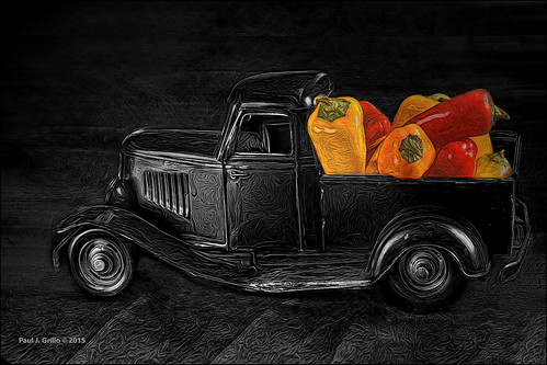 life bw color truck still chiles delivery peppers heap selective