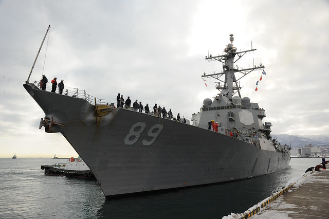OTARU, Japan - The Arleigh Burke-class guided-missile destroyer USS Mustin (DDG 89) pulls into Otaru for a scheduled port visit.