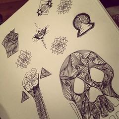 Doooooooodles #soulfood #staedtler #ink #lines #skull #doodles #sketch #sriyantra #pyramid