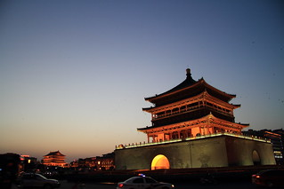 Image of  Bell Tower. china travel light tower architecture night bell xian 钟鼓楼广场|xianbellanddrumtowersplaza 钟楼|belltower