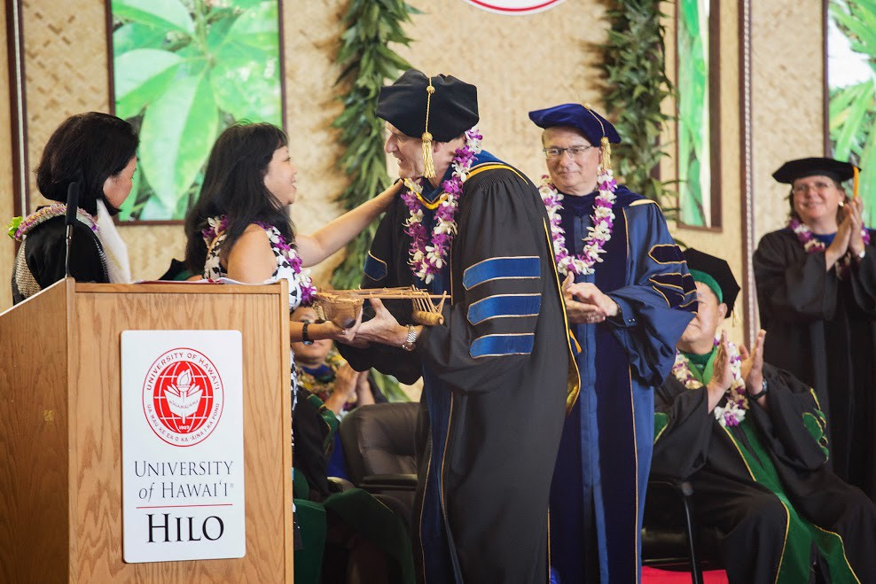 """<p>A surprise gift from Irene Hirano Inouye to UH Hilo's Dean of the College of Pharmacy John Pezzuto. May 11, 2013<br /> <br /> See more UH Hilo photos at the <a href=""""https://www.facebook.com/media/set/?set=a.552007111508195.1073741829.133876433321267&type=3"""" rel=""""nofollow"""">University of Hawaii at Hilo Alumni and  Friends Facebook page.</a></p>"""