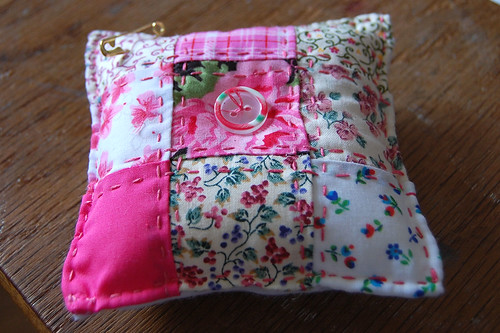 pink patchwork pincushion