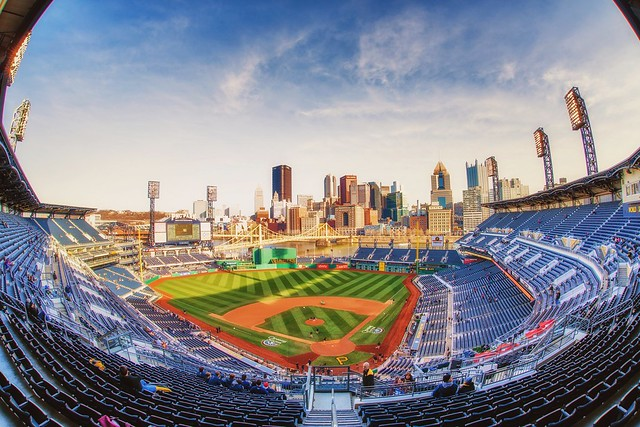 Sunset from behind home plate at PNC Park HDR