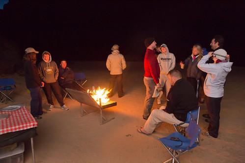 Evening conversation around the campfire