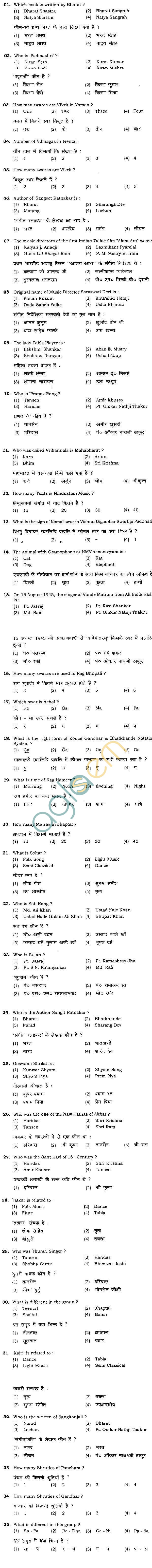 BHU UET 2012 B.Music Vocal Question Paper