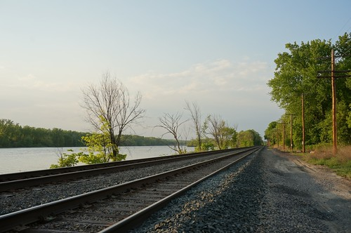 Hudson River - train tracks along SR 9J