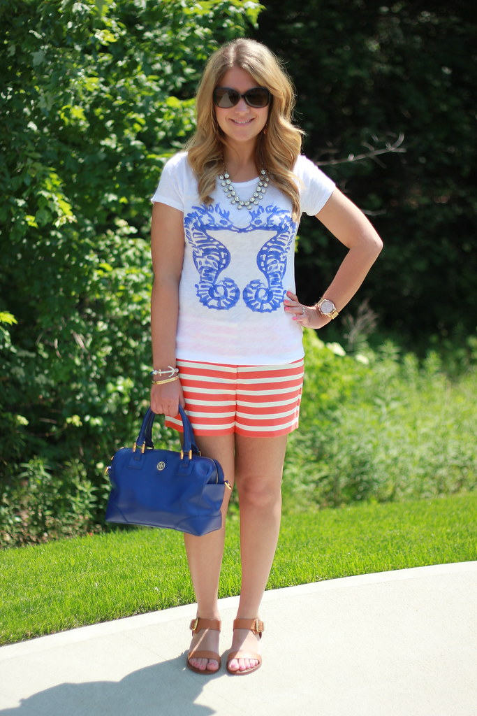 J Crew Seahorses Tee & Striped Shorts summer outfit