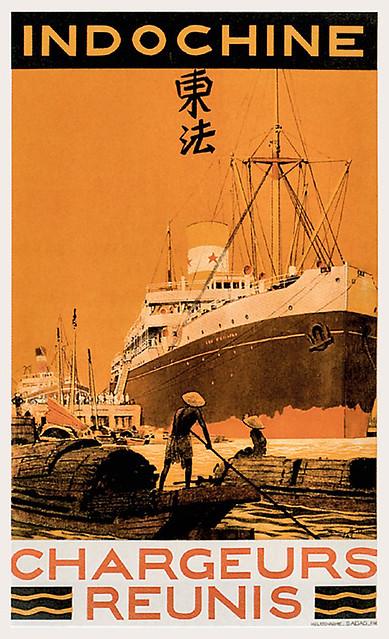 Indochine - Chargeurs Réunis - Poster quảng cáo Hãng tàu