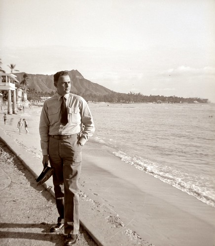 Serviceman in front of Diamond Head