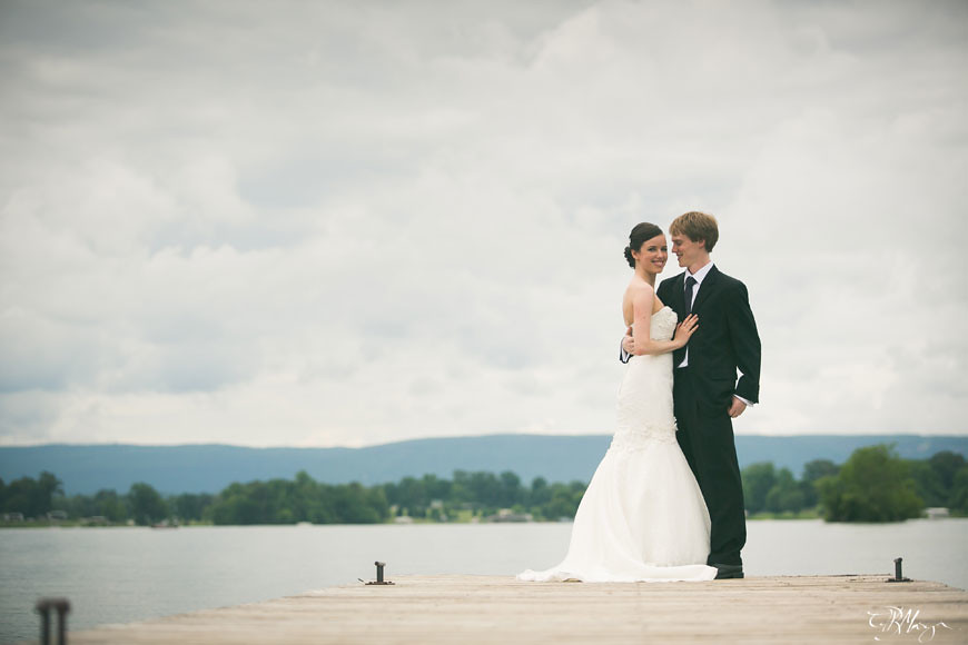 Bride-Groom-Dock-Lake-Clouds