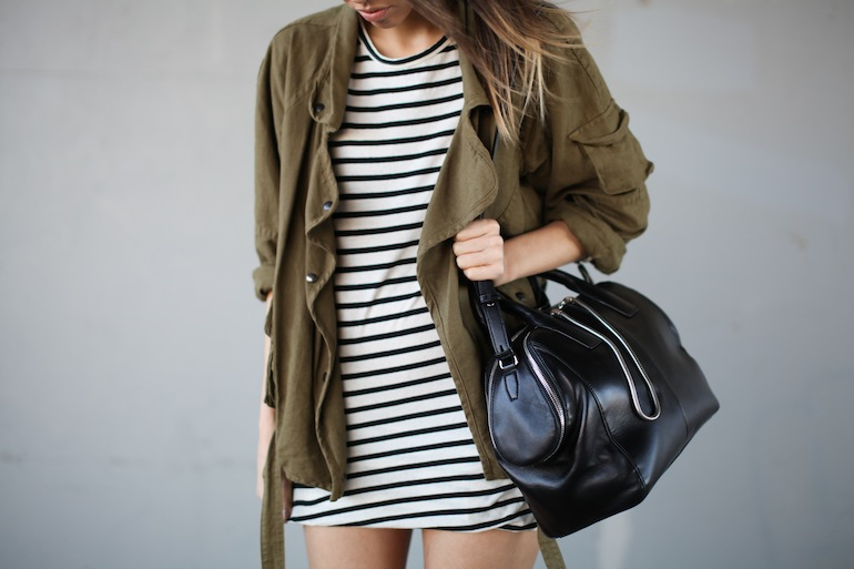 Modern Legacy fashion style blog Australia Isabel Marant khaki jacket Ulyse Bassike stripe dress Wang Jamie tote bag wedge sneakers Celine Audrey (3 of 12)