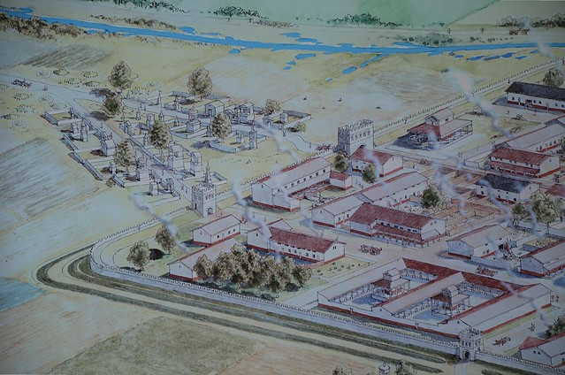Reconstruction drawing of Aurelium Cananefatium/Forum Hadriani, Germania Inferior, Netherlands