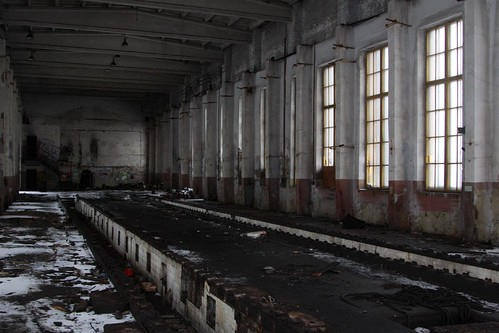 Inside the abandoned locomotive shed