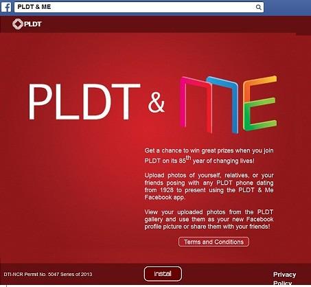 PLDT & ME Facebook App Installation Page