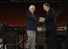 McCullough is welcomed by Auburn University President Jay Gogue.
