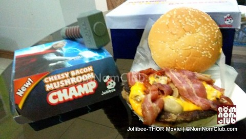 The new Jollibee Bacon Mushroom Champ Solo Meal (P129) with the Thor Hammer USB (P95)