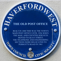 Photo of Haverfordwest Post Office blue plaque