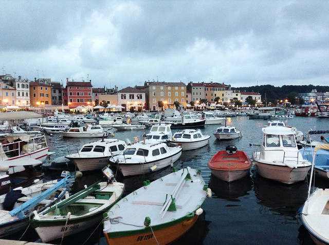 Many boats in the Rovinj harbor