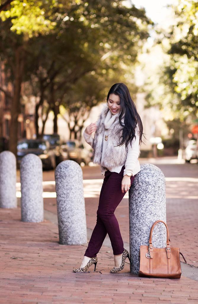 cute & little blog | fur vest, cowl sweater, burgundy pants, leopard pumps | winter style outfit