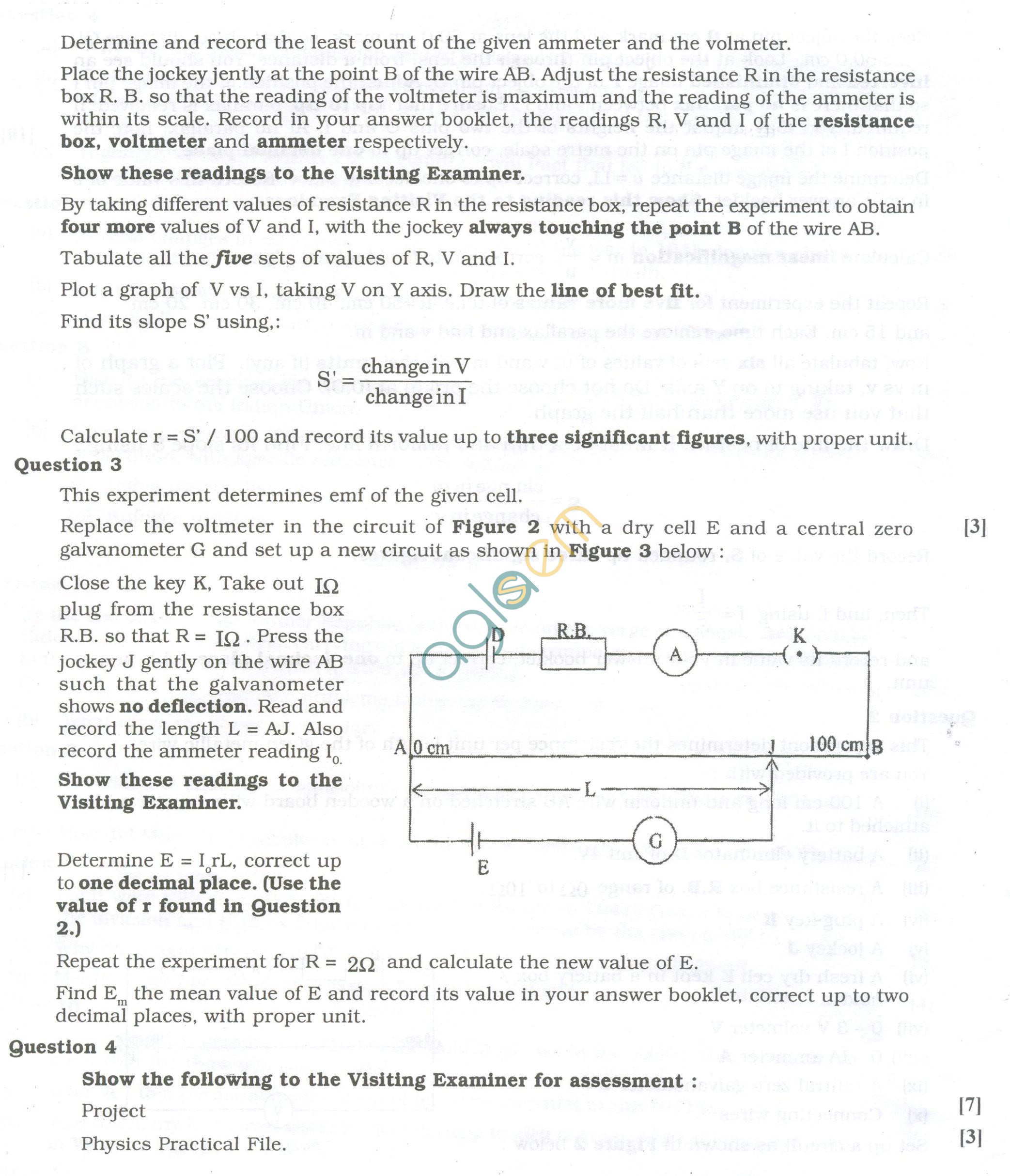 ISC Question Papers 2013 for Class 12 – Physics Practical