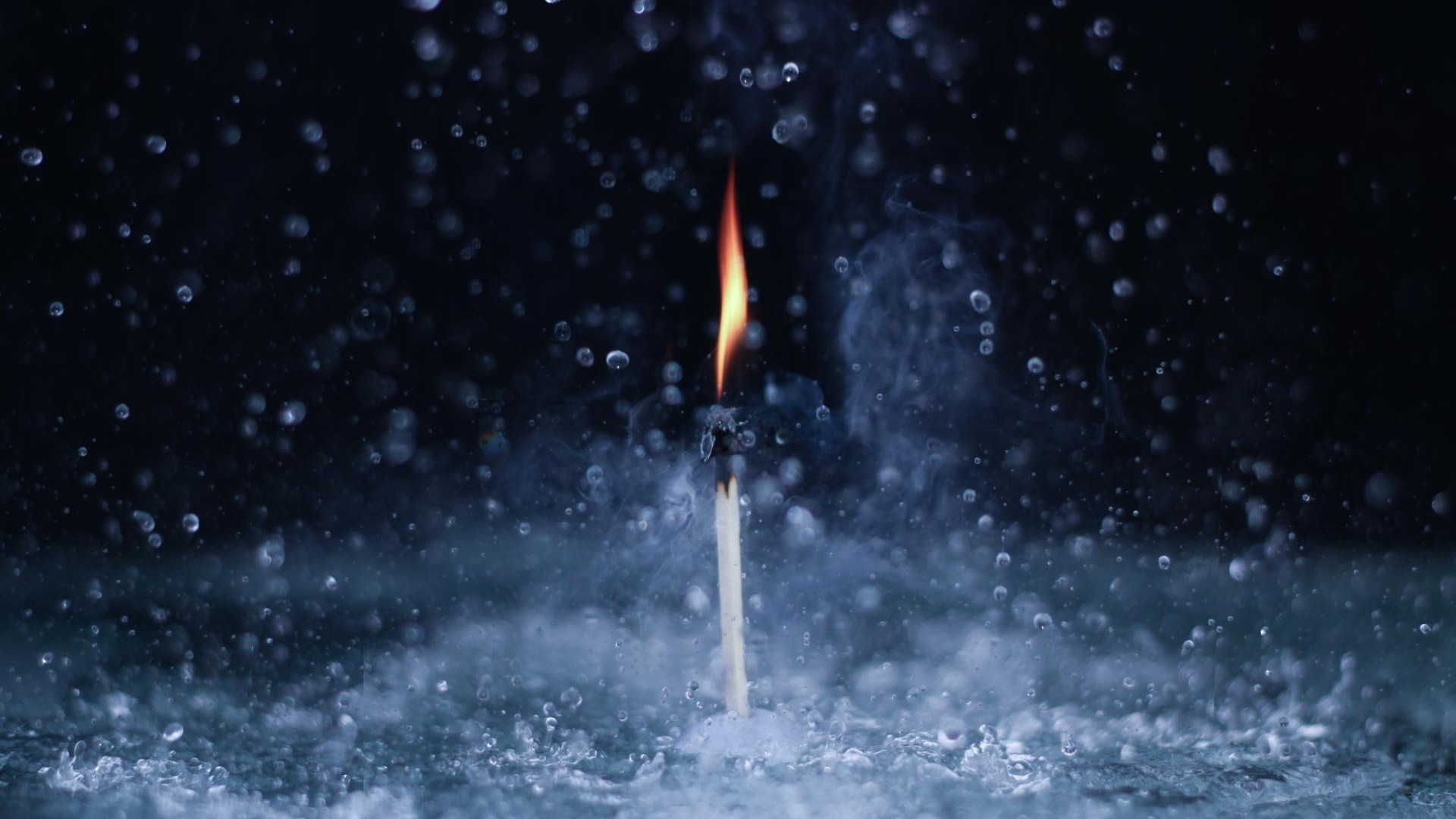 Matchstick on Fire in RainDrops - Top 10 HD Raindrop Wallpapers for Your Desktop