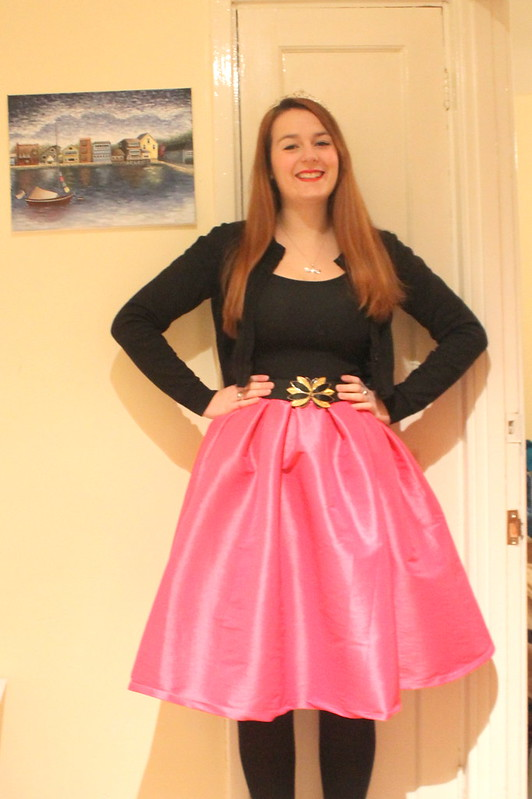 Princess outfit, pink midi skirt