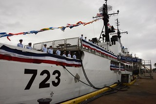 The crew of Coast Guard Cutter Rush line the deck during the beginning of its decommissioning ceremony at Base Honolulu, Feb. 3, 2015. During the ceremony, the Coast Guard retired Rush after its 45 years of dedicated service. (U.S. Coast Guard photo by Petty Officer 3rd Class Melissa E. McKenzie)