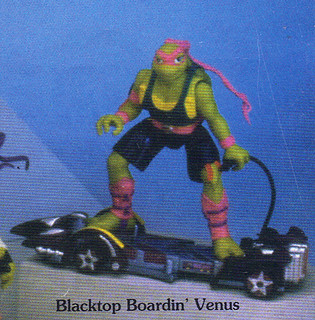"Tomart's Action Figure Digest #xx :: pgs.26, 27 TOY FAIR '97, PLAYMATES ""NINJA TURTLES: THE NEXT MUTATION / ..early 'THUNDER THRASHERS' ""pink bandana & tank top"" 'BLACKTOP BOARDIN' VENUS"" Venus (( April 1997 ))"