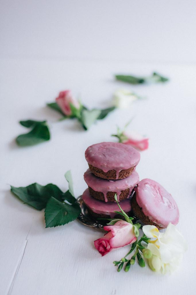 Mini Chocolate Pound Cakes + Raspberry Rose Glaze