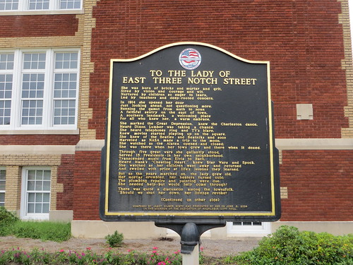 To The Lady of Three East Notch Street Marker (Obverse) Andalusia AL