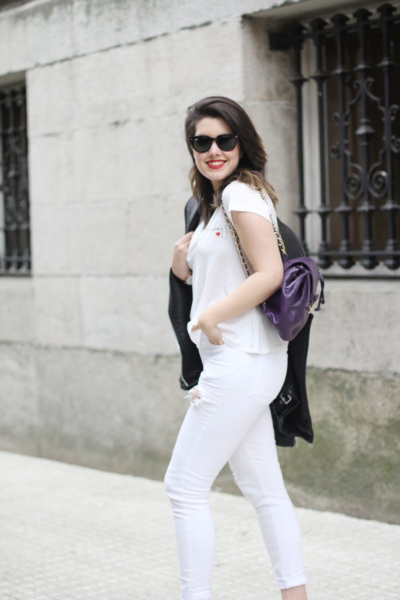 total white look with perfect biker miu miu sneakers and purple backpack
