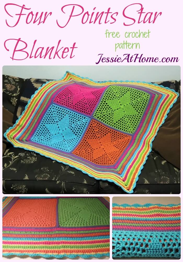 Four Points Star Blanket - free crochet pattern by Jessie At Home