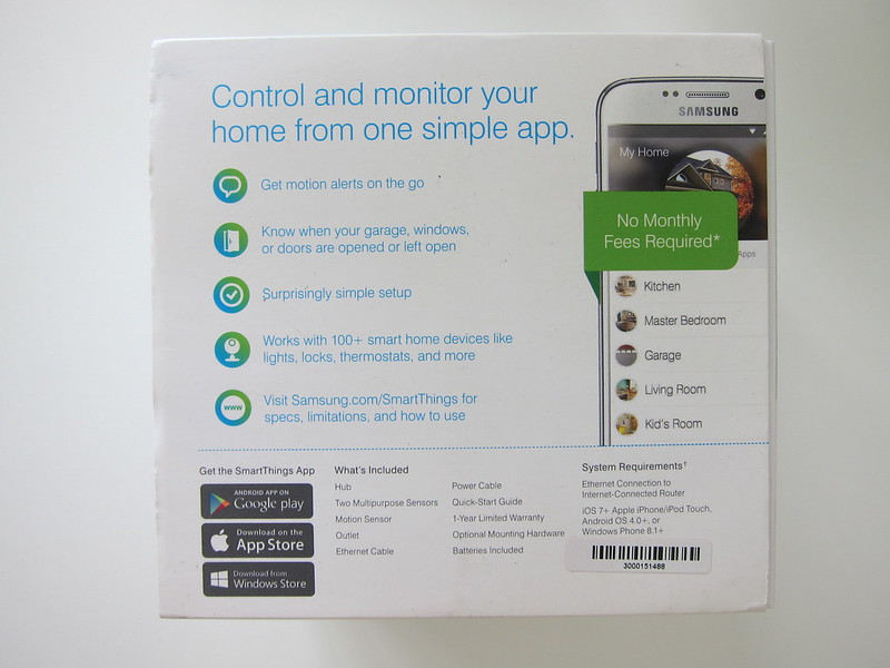 Samsung SmartThings - Home Monitoring Kit - Box Back