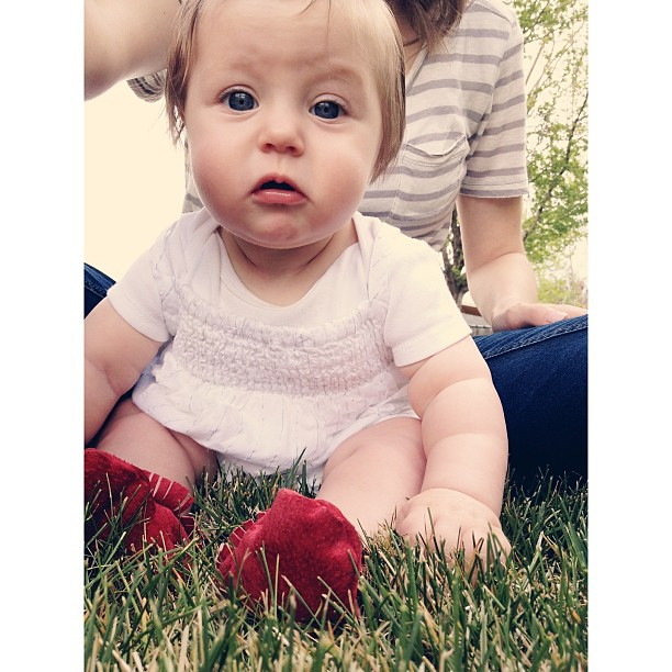 Not sure how she feels about this thing they call grass. #welovebunny #vscocam #vscocam_kids #afterlight