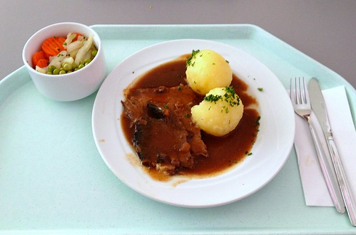 Sauerbraten mit Kartoffelklößen / Marinated pot roast with potato dumplings