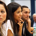 Participants from the Roma Education Fund listen during a discussion with President Jim Yong Kim in Bucharest, Romania