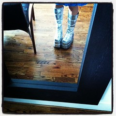 Saturdays are good for glitter boots, no?