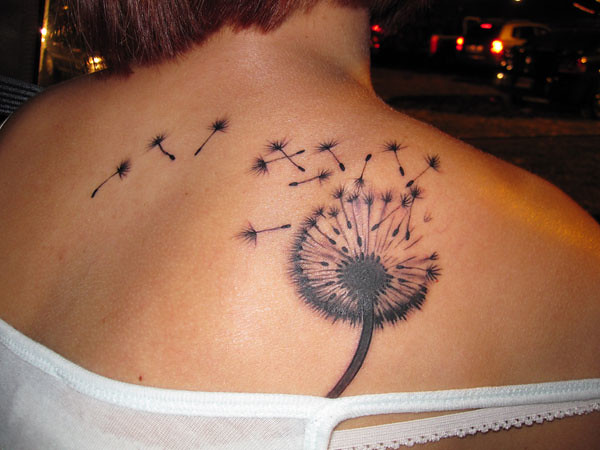 dandelion tattoo on shoulder (2) (1)