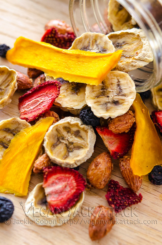 A melody of fruit flavors plus coconut roasted almonds make this tropical trail mix quite the treat! Great for backpacking, too.
