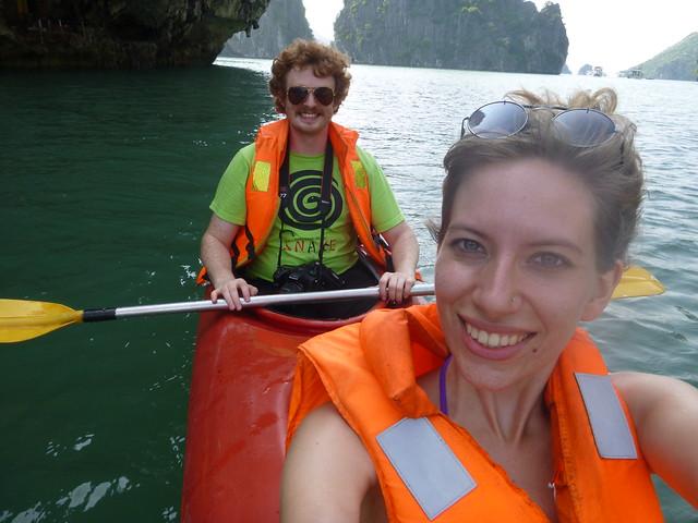 Kayaking in Halong Bay and enjoying the scenery