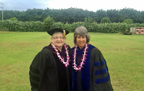 <p>University of Hawaii President M.R.C. Greenwood and Kauai Community College Chancellor Helen Cox at the Kauai Community College's commencement ceremony on May 10, 2013.</p>
