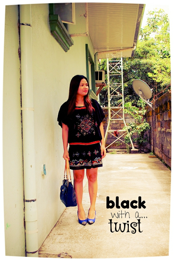 thrift black boho dress