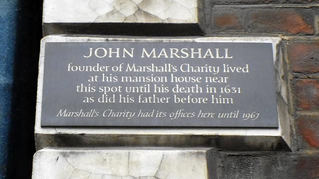 Photo of John Marshall and Marshall's Charity black plaque
