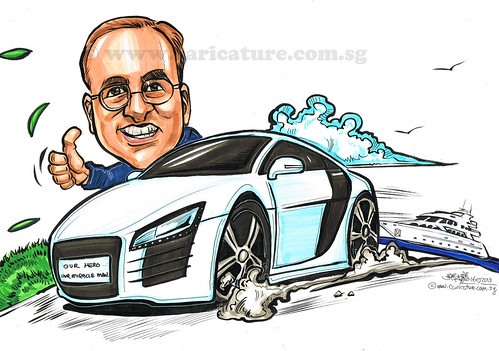 birthday caricature for Premium Automobiles Pte Ltd