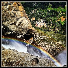 Yosemite Falls was pouring a rainbow into the Valley the other day.