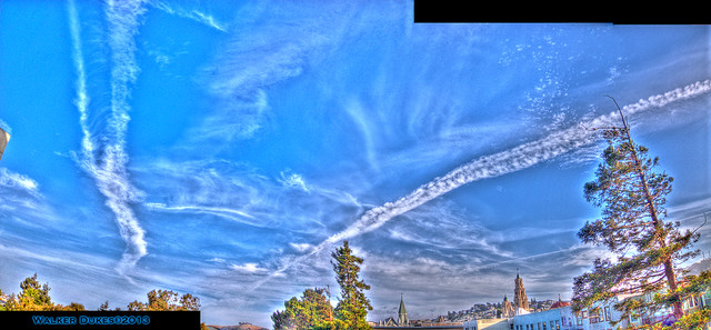 Huge Chemtrails or Contrails Over San Francisco, HDR/Panorama