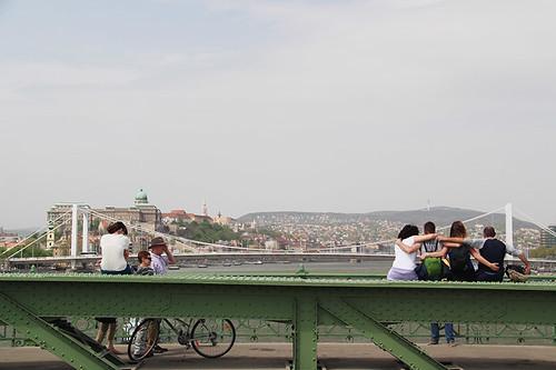 posing on the Freedom Bridge